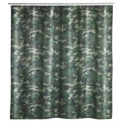 Wenko Duschvorhang Camouflage, Polyester, 180 x 200 cm, waschbar