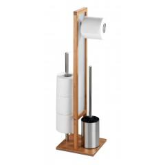 Wenko Stand WC-Garnitur Rivalta Bambus, integrierter Toilettenpapierhalter und WC-Bürstenhalter