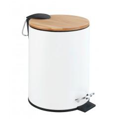 Wenko Kosmetik Treteimer Tortona Easy-Close Weiß matt, 3 Liter, Bambus-Deckel