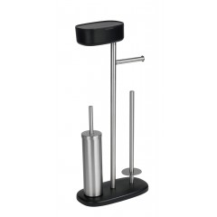 Wenko Stand WC-Garnitur mit Box Rivazza Schwarz, integrierter Toilettenpapierhalter, Ersatzrollenhalter und WC-Bürstenhalter mit Ablagebox