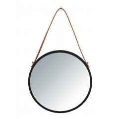 Wenko Wandspiegel Borrone rund, 30 cm, schwarz mit Aufhänge-Gurt