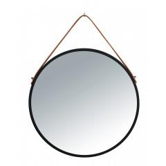 Wenko Wandspiegel Borrone rund, 40 cm, schwarz mit Aufhänge-Gurt