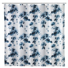 Wenko Anti-Schimmel Duschvorhang Rose Bleu, Textil (Polyester), 180 x 200 cm, waschbar