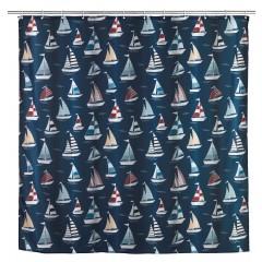 Wenko Anti-Schimmel Duschvorhang Regatta, Textil (Polyester), 180 x 200 cm, waschbar