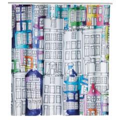 Wenko Duschvorhang Sunny City, Textil (Polyester), 180 x 200 cm, waschbar