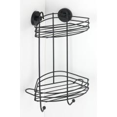 Wenko Vacuum-Loc® Eckregal 2 Etagen Schwarz, Wandablage, Befestigen ohne bohren