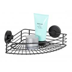 Wenko Vacuum-Loc® Eckablage Bari schwarz, Wandablage, Befestigen ohne bohren