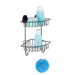 Wenko Vacuum-Loc® Eckregal 2 Etagen Bari Schwarz, Wandablage, Befestigen ohne bohren