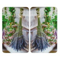 Herdabdeckplatte Universal Lavendel-Strauß, 2er Set, für alle Herdarten