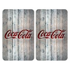 Wenko Glasabdeckplatten Universal Coca-Cola Wood, 2er Set, für alle Herdarten