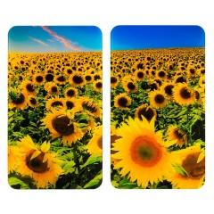 Wenko Herdabdeckplatte Universal Sonnenblumenfeld, 2er Set, für alle Herdarten