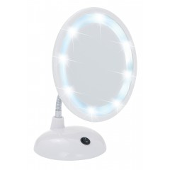 Wenko LED Kosmetikspiegel Style Weiß, Standspiegel, 3-fach Vergrößerung
