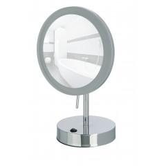 Wenko LED Standspiegel Aura, Kosmetikspiegel, mit Acrylrahmen, 5-fach Vergrößerung