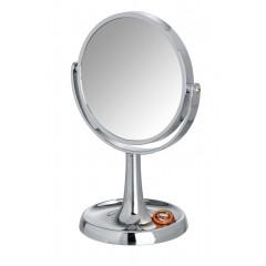 Wenko Kosmetikspiegel Rosolina Chrom, Standspiegel, 5-fach Vergrößerung