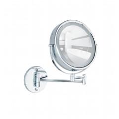 Wenko Power-Loc® LED Wandspiegel Lumi, 5-fach Vergrößerung, Befestigen ohne bohren