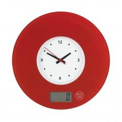 Küchenwaage Time mit Uhr Rot