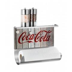 Wenko Magnetischer Rollenhalter mit Ablage Coca-Cola Wood