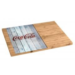 Wenko Schneidebrett Coca-Cola Wood, aus Bambus mit Glaseinsatz