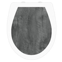 WC-Sitz Aufkleber Holz Silbereiche grau