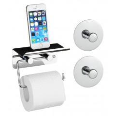 Toilettenpapierhalter mit Smartphone Ablage und 2 Turbo-Loc Haken, 3-teiliges Set
