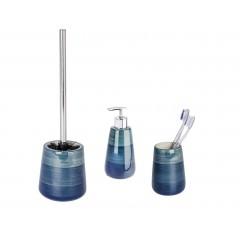 Wenko Bad-Accessoires Set Pottery Petrol, 3-teilig, Zahnputzbecher, Seifenspender & WC-Garnitur