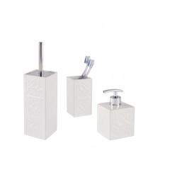 Bad-Accessoires Set Cordoba Weiß, 3-teilig, Zahnputzbecher, Seifenspender & WC-Garnitur