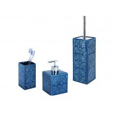Wenko Bad-Accessoires Set Cordoba Blau, 3-teilig, Zahnputzbecher, Seifenspender & WC-Garnitur