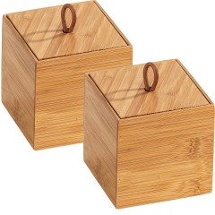 Wenko Bambus Box Terra S mit Deckel, 2er Set