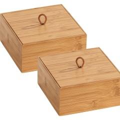 Wenko Bambus Box Terra M mit Deckel, 2er Set