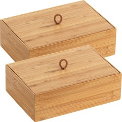 Wenko Bambus Box Terra L mit Deckel, 2er Set