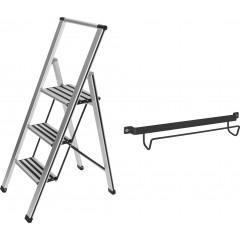 Wenko Alu-Design Klapptrittleiter 3-stufig  inklusive Leiternhalter, rutschfeste Haushaltsleiter, SicherheitsStehleiter