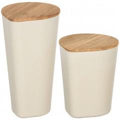 Wenko Aufbewahrungsdosen Derry, 2-teiliges Set, aus Bambusfasern