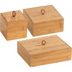 Wenko Bambus Boxen Terra S,M & L mit Deckel, 3-teiliges Set