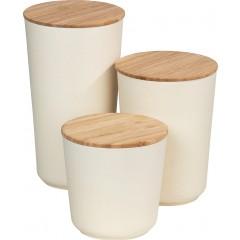 Wenko Aufbewahrungsdosen Bondy, 3-teiliges Set, aus Bambusfasern