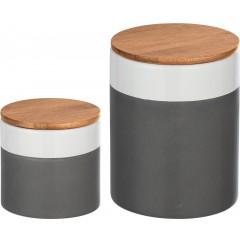 Wenko Aufbewahrungsdosen Malta, 2-teiliges Set (0,75l & 0,45l), Keramik