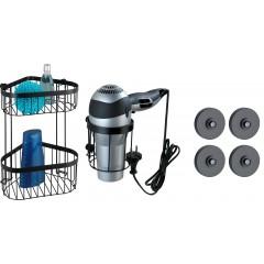 Wenko Badezimmer-Set Classic Plus Black mit VacuumLoc® Adapter, 2-teilig, Eckregal und Haartrocknerhalter