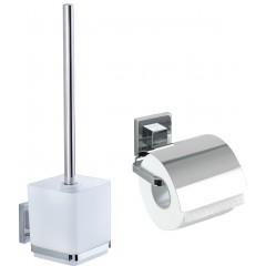 Wenko VacuumLoc® WC-Set Quadro, 2-teilig, WC-Garnitur und Toilettenpapierhalter, Edelstahl rostfrei