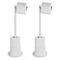 Wenko Stand Toilettenpapierhalter 2 in 1 Weiß, 2er Set