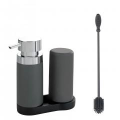 Wenko Easy-Squeez-e Spül-Set Anthrazit, Silikon Flaschenbürste 38cm & Easy Squeez-e Spülstation