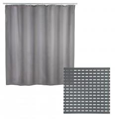 Set Duscheinlage mit Anti-Schimmel Duschvorhang Grau, 2-teilig