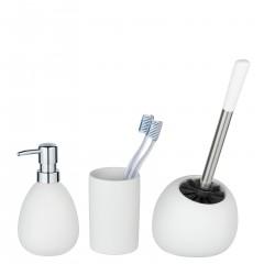 Wenko Bad-Accessoire Set Polaris, Weiß matt, 3-teilig, Keramik