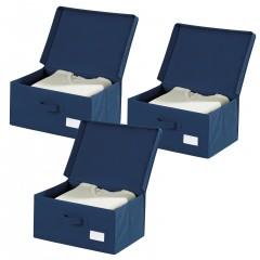 Wenko Aufbewahrungsbox Air, 3er Set, 3 x Aufbewahrungstasche mit Deckel