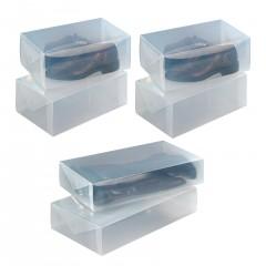 Wenko Aufbewahrungsbox für Schuhe und Stiefel, 6-teilig, Transparente Schuhaufbewahrung, 6-tlg.