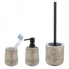 Wenko Keramik Bad-Accessoire Set Fedio, 3-teilig, Handbemaltes Badaccessoire-Set, 3-tlg.