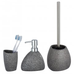 Wenko Keramik Bad-Accessoire Set Pion, Grau, 3-teilig