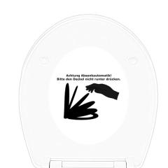 WC-Sitz Aufkleber Achtung Absenkautomatik! Bitte den Deckel nicht runter drücken.