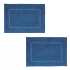 Wenko Frottier Duschvorleger Paradise Slate Blue, 2er Set, Badematte, 50 x 70 cm, Schiefer-Blau