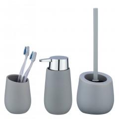 Wenko Bad-Accessoire Set Badi, Grau, 3-teilig, Bad-Zubehör aus Keramik