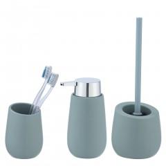 Wenko Bad-Accessoire Set Badi, Blaugrau, 3-teilig, Bad-Zubehör aus Keramik