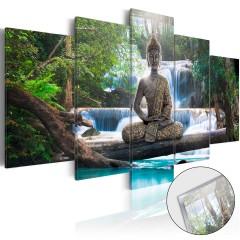 Artgeist Acrylglasbild - Buddha and Waterfall [Glass]